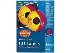 Avery 8691 Inkjet CD/DVD Labels, Matte White, 100/Pack