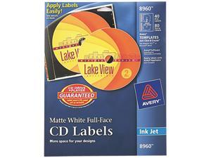 Avery 8960 Full Face CD Labels 40 / Pack - Circle - Inkjet - White