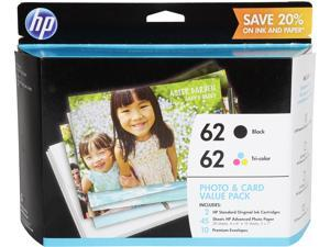 HP 62 (K3W67AN#140) Black & Tri-Color Original Ink Cartridges with Photo Paper