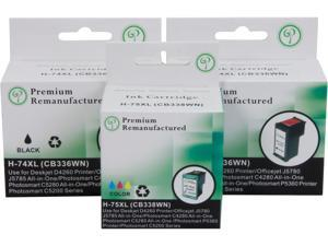 Green Project H-74XL/75XL(3pk) Black Tricolor Inkjet Cartridges in Foil Packaging-Black Replaces HP 74XL