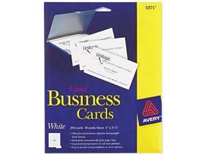 Avery 5371 Laser Business Cards, 2 x 3 1/2, White, 10 Cards/Sheet, 250/Pack