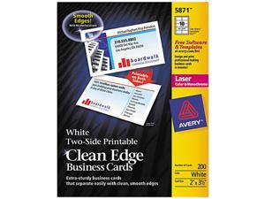 Avery 5874 Two-Side Clean Edge Laser Business Cards, 2 x 3 1/2, White, 1000/Pack