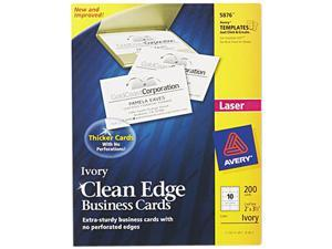 Avery 5876 Clean Edge Laser Business Cards, 2 x 3 1/2, Ivory, 10/Sheet, 200/Pack