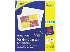 Avery 8317 Printable Embossed Cards, 4-1/4 x 5-1/2, Ivory, 2/Page, 60/Box with Envelopes