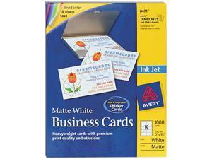 Avery 8471 Inkjet Matte Business Cards, 2 x 3 1/2, White, 10/Sheet, 1000/Box