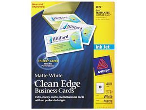 Avery 8877 Inkjet Matte Business Cards, 2 x 3 1/2, White, 10/Sheet, 400/Box