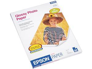 Epson America Glossy Photo Paper, 60 lbs., Glossy, 8-1/2 x 11, 50 Sheets/Pack