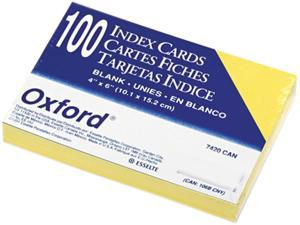 Oxford 7420-CAN Unruled Index Cards, 4 x 6, Canary, 100/Pack