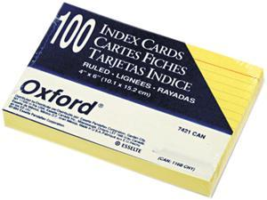 Oxford 7421-CAN Ruled Index Cards, 4 x 6, Canary, 100/Pack