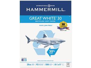 Hammermill 86700 Great White Recycled Copy Paper, 92 Brightness, 20lb, 8-1/2 x 11, 5000 Shts/Ctn