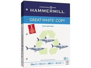 Hammermill 86702 Great White Recycled Copy 3-Hole Punched Ppr, 92 Brightness, 20lb, Ltr, 5000/Ctn