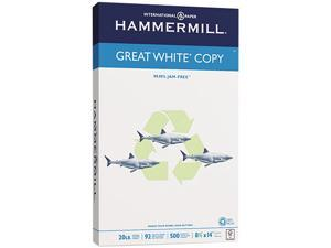 Hammermill 86704 Great White Recycled Copy Paper, 92 Brightness, 20lb, 8-1/2 x 14, 500 Shts/Ream