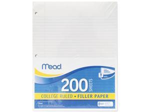 Mead 17208 Economical 16-lb. Filler Paper, College Ruled, 11 x 8-1/2, White, 200 Shts/Pk