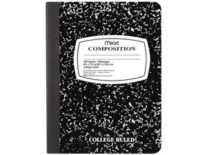 Mead 09910 Black Marble Composition Book, Wide Rule, 9-3/4 x 7-1/2, 100 Sheets