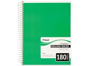 Mead 05682 Spiral Bound Notebook, College Rule, 8 x 10-1/2, White,Twin wire, 180 Sheets/Pad