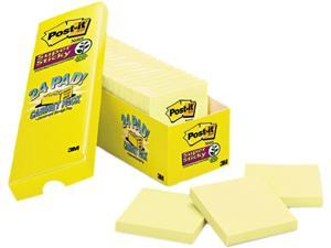 Post-it Notes Super Sticky 654-24SSCP Super Sticky Notes, 3 x 3, Canary Yellow, 24 90-Sheet Pads/Pack
