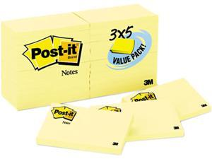 Post-it Notes 655-24VAD-B Original Notes, 3 x 5, Canary Yellow, 24 90-Sheet Pads/Pack