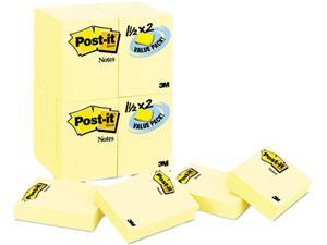 Post-it Notes 653-24VAD-B Original Notes, 1-1/2 x 2, Canary Yellow, 24 90-Sheet Pads/Pack