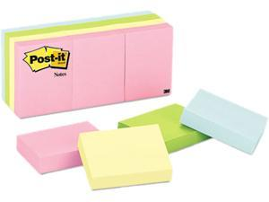 Post-it Notes 653-AST Color Notes, 1-1/2 x 2, Pastel Colors, 12 100-Sheet Pads/Pack