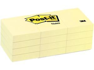 Post-it Notes 653-YW Original Notes, 1-1/2 x 2, Canary Yellow, 12 100-Sheet Pads/Pack