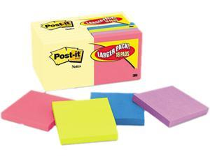 Post-it Notes 654-14-4B Note Bonus Pack Pads, 3 x 3, Canary Yellow/Ast.,100-Sheet 18/Pack