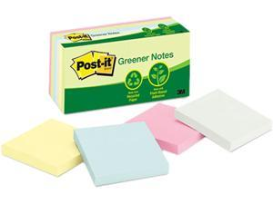 Post-it Greener Notes 654-RP-A Recycled Pastel Notes, 3 x 3, Four Colors, 12 100-Sheet Pads/Pack