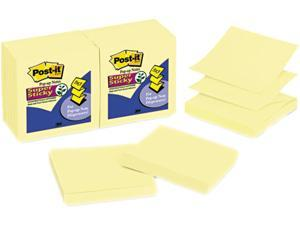 Post-it Notes Super Sticky R330-12SSCY Super Sticky Pop-Up Refill, 3 x 3, Canary Yellow, 12 90-Sheet Pads/Pack
