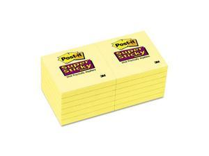Post-it                                  Super Sticky Notes, 3 x 3, Canary Yellow, 12 90-Sheet Pads/Pack