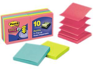 Post-it                                  Pop-Up Notes, 3 x 3, Jewel Pop, 10 90-Sheet Pads/Pack