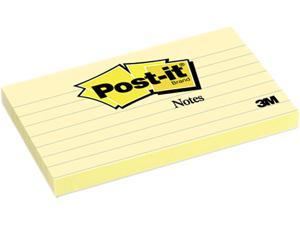 Post-it                                  Original Notes, 3 x 5, Lined, Canary Yellow, 12 100-Sheet Pads/Pack