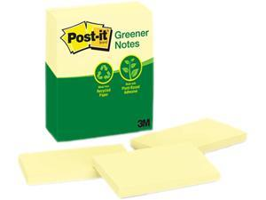 Post-it Greener Notes 655-RP-YW Recycled Notes, 3 x 5, Canary Yellow, 12 100-Sheet Pads/Pack
