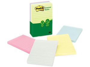 Post-it Greener Notes 660-RP-A Recycled Notes, 4 x 6, Lined, Four Pastel Colors, 5 100-Sheet Pads/Pack