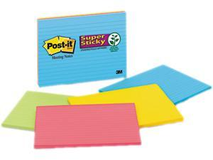 Post-it Notes Super Sticky 6845-SSPL Super Sticky Large Format Notes, 8 x 6, Lined, Four Colors, 4 45-Sheet Pads/Pack