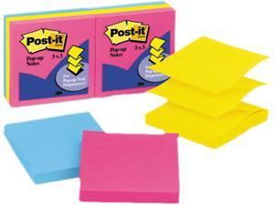 Post-it Pop-up Notes R-330-AN Pop-Up Note Refill, 3 x 3, Five Neon Colors, 6 100-Sheet Pads/Pack