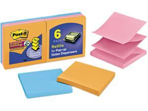 Post-it Pop-up Notes Super Sti R330-6SSAN Pop-Up Refill, 3 x 3, 4 Electric Glow Colors, 6 90-Sheet Pads/Pack