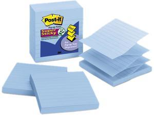 Post-it                                  Pop-Up Refills, 4 x 4, Lined, Aquamarine, 5 90-Sheet Pads/Pack