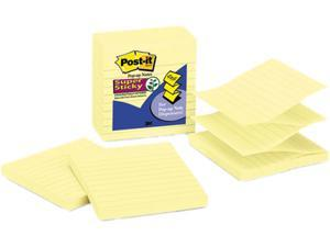 Post-it Notes Super Sticky R440-YWSS Super Sticky Pop-Up Refills, 4 x 4, Canary Yellow, Lined, 5 90-Sheet Pads/Pack