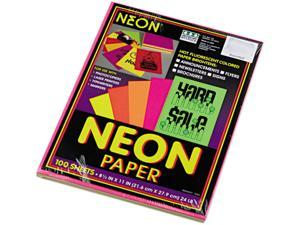 Pacon 104331 Array Colored Bond Paper, 24lb, 8-1/2 x 11, Assorted Neon, 100 Sheets/Pack
