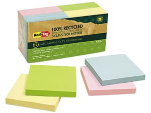 Redi-Tag 26704 100% Recycled Notes, 3 x 3, Four Colors, 12 100-Sheet Pads/Pack