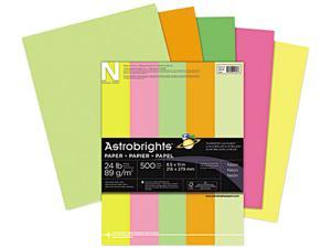 Wausau Paper 20270 Astrobrights Colored Paper, 24lb, 8-1/2 x 11, Neon Assortment, 500 Sheets/Ream