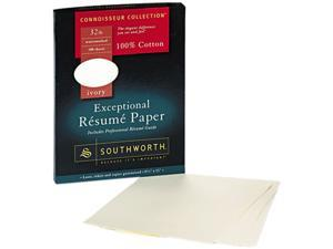 Southworth RD18ICF 100% Cotton Résumé Paper, 32 lbs., 8-1/2 x 11, Ivory, 100/Box