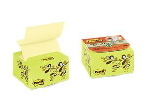 Post-it Recycled Pop-up Notes in a Desk Grip Decorative Box, 3 x 3, Green/Leaf Design