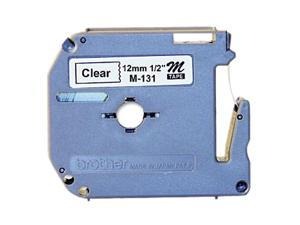 brother M131 M Series Tape Cartridge for P-Touch Labelers, 1/2w, Black on Clear