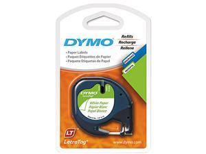"Dymo LetraTag 10697 Paper Tape 0.50"" Width x 13 ft Length - 2 / Pack - White"