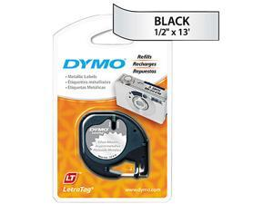 """Dymo LetraTag 91338 Metallic Tape 0.50"""" Width x 13 ft Length - 1 Each - Direct Thermal - Silver"""