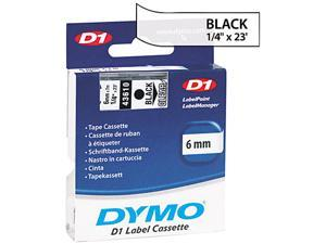 """Dymo D1 43610 0.25"""" Tape 0.25"""" Width x 23 ft Length - 1 Roll - Polyester - Thermal Transfer - Clear"""