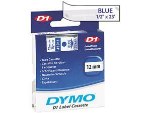 "Dymo D1 45011 Standard Tape Cartridge 0.50"" Width x 23 ft Length - 1 Each - Clear, Clear"