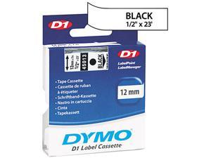 DYMO D1 Standard Tape Cartridge for Dymo Label Makers, 1/2in x 23ft, Black on White (45013)