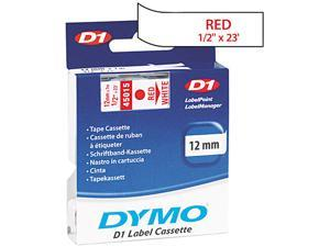 "DYMO 45015 1/2"" x 23' Red Print/ White Tape"