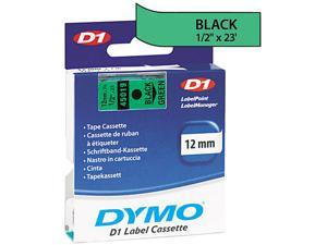 "Dymo D1 45019 Tape 0.50"" Width x 23 ft Length - 1 Each - Polyester - Thermal Transfer - Black, Green"